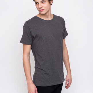 Knowledge Cotton Basic Regular Fit O-Neck Tee 1073 Dark Grey Melange XL - Biorre.cz - udržitelný nákup