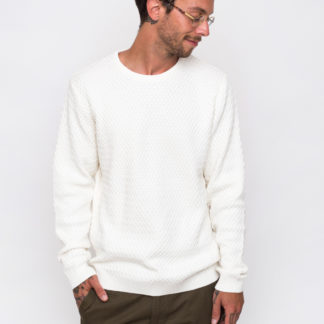 Knowledge Cotton Small Diamond Knit 1070 Winter White L - Biorre.cz - udržitelný nákup