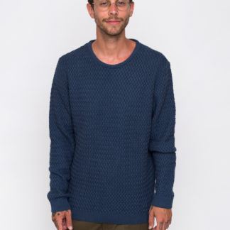 Knowledge Cotton Small Diamond Knit 1188 Dark Denim M - Biorre.cz - udržitelný nákup
