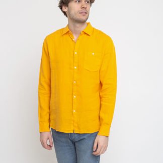 Knowledge Cotton Larch Long Sleeve Linen Shirt - Vegan 1306 Zennia Yellow XL - Biorre.cz - udržitelný nákup