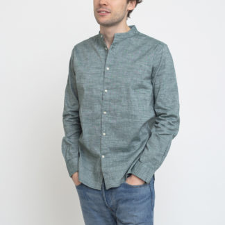 Knowledge Cotton Larch Long Sleeve Linen Stand Collar Shirt 1294 Pineneedle XL - Biorre.cz - udržitelný nákup