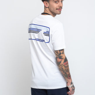 Knowledge Cotton Signature Wave Tee 1010 Bright White XL - Biorre.cz - udržitelný nákup