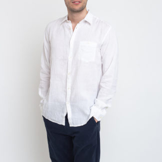 Knowledge Cotton Larch Long Sleeve Linen Shirt - Vegan 1010 Bright White XL - Biorre.cz - udržitelný nákup