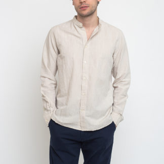 Knowledge Cotton Larch Long Sleeve Linen Stand Collar Shirt 1228 Light Feather Gray XL - Biorre.cz - udržitelný nákup